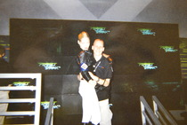 PGC/NWR 10th Anniversary: Lindy with blonde Perfect Dark girl at E3 1999