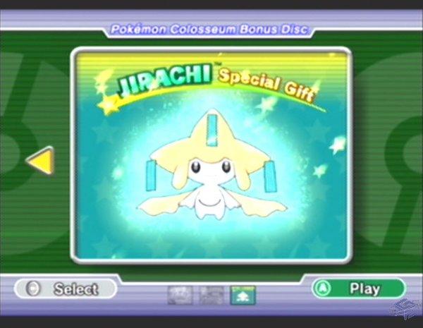 Jirachi Menu Selection