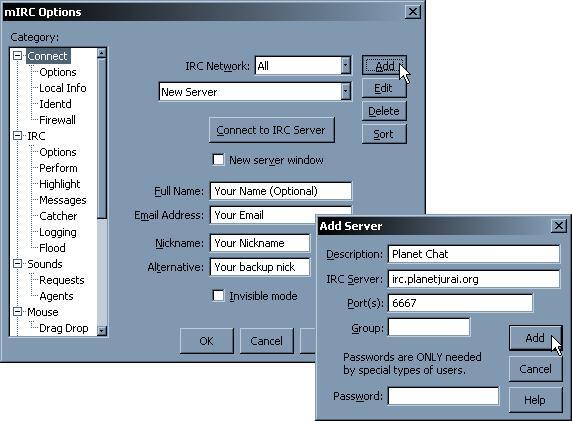 mIRC Setup: Adding a server