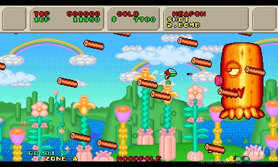 Boss tronc d'arbre dans shoot'em up sega master system Fantasy Zone