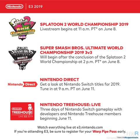 Nintendo's E3 schedule released