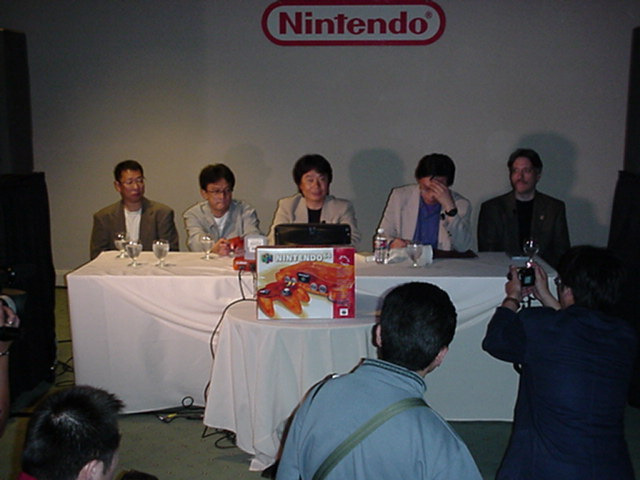 Shigeru Miyamoto and other Nintendo developers during a Rare-centric press briefing
